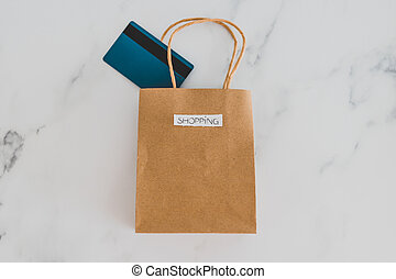 achats, flatlay, sommet, marbre, sac, table, paiement, carte
