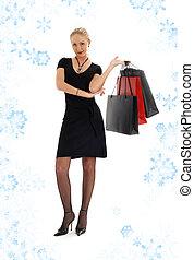 achats, flocons neige, noir, blonds, #3, robe