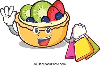 achats, fruit, caractère, dessin animé, tarte