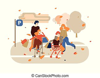 achats, gens, charrettes, jeune, amusement, groupe, avoir, heureux