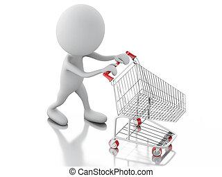 achats, gens, isolé, charrette, fond, blanc, 3d