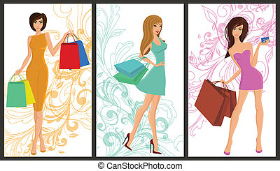 achats, girl, bannière