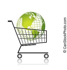 achats, globe, charrette, vert, conception, ton