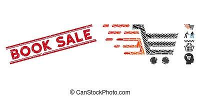 achats, gratté, charrette, mosaïque, vente, timbre, jonc, cachet, livre, lignes