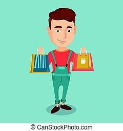 achats, heureux, bags., tenue, homme