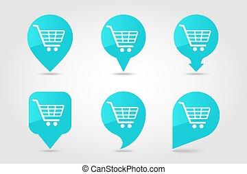 achats, icône, charrette, épingle, carte, vecteur, centre...