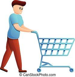 achats, icône, dessin animé, garçon, style, charrette