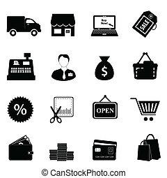 achats, icône, ensemble