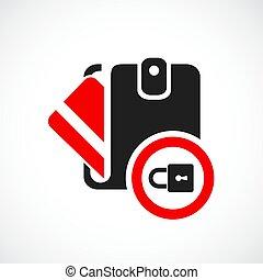 achats, icône, vecteur, sécurité, ligne
