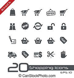 achats, icônes, //, élémentsessentiels