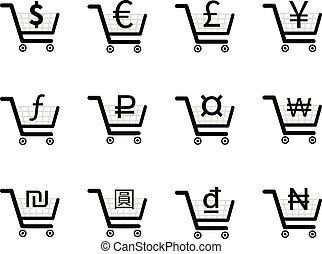 achats, icônes, charrettes, intérieur, monnaie, signes, principal