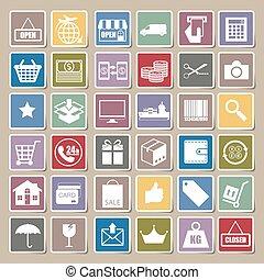 achats, icônes, ensemble, autocollant, vecteur, logistique