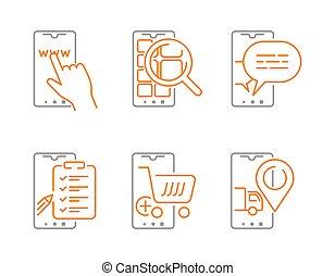 achats, icônes, ensemble, ligne