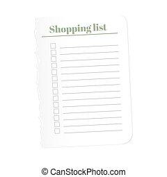 achats, illustration., arrière-plan., complété, déchiré, isolé, papier, enregistrement, vecteur, vide, list., feuille, blanc, tasks.