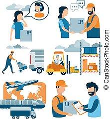 achats, illustration., courrier, ?oncept, process., plat, livraison paquet, vecteur, service, e-commerce, ligne, customer., réception, paquet
