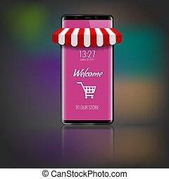 achats, illustration., téléphone portable, marché, vecteur, cart., marquise, rayé, ou, magasin, icône