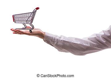 achats, isolé, charrette, possession main, blanc