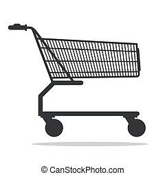achats, isolé, charrette, vecteur, fond, blanc, icône