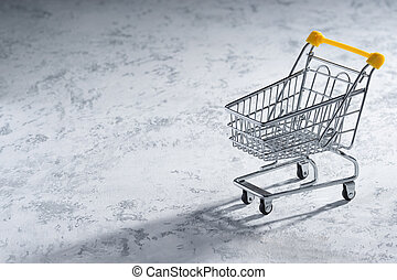 achats, isolé, coupé deux, chariot, buyer., close-up., fond,...