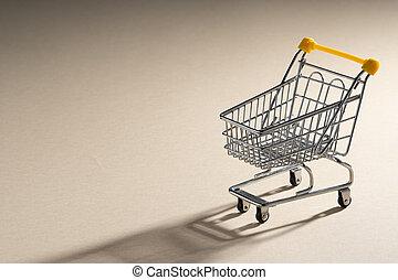 achats, isolé, coupé deux, chariot, buyer., close-up.,...