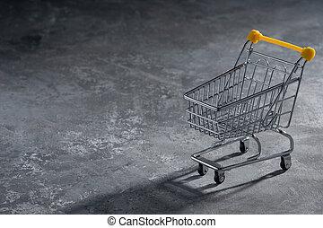 achats, isolé, coupé deux, chariot, gris, buyer., close-up.,...