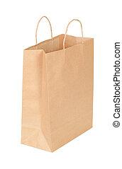 achats, isolé, sac, papier, fond, blanc