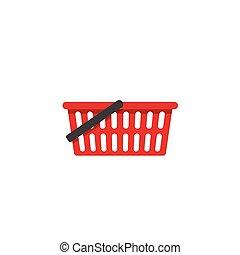 achats, isolé, vecteur, panier, vide, icône