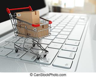 achats, laptop., charrette, boîtes, e-commerce., carton