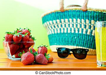 achats, mûre, fraise, panier, table, rouges