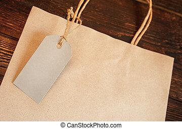 achats, mockup, bois, vendange, sommet, étiquette, sac papier, métier, arrière-plan., table, vue