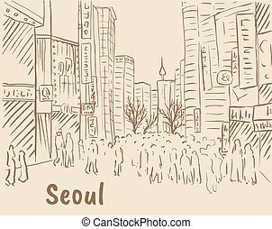 achats, myeongdong, rue