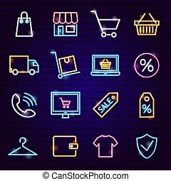 achats, néon, icônes