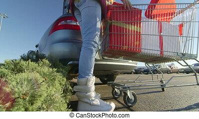 achats, noël, supermarché