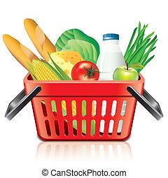 achats, nourriture, isolé, vecteur, panier, blanc