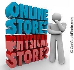 achats, option, cho, penseur, vs, mieux, ligne, magasin, ...