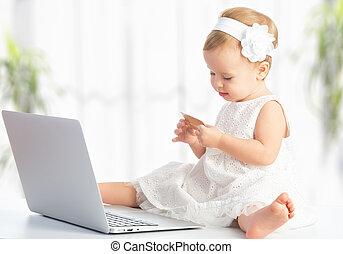 achats, ordinateur portable, crédit, internet, dorlotez fille, carte
