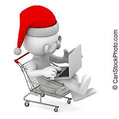 achats, ordinateur portable, intérieur, e-commerce, cart., santa, concept.