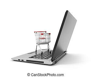 achats, ordinateur portable, isolé, charrette, informatique, sur