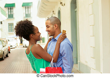 achats, panama, crédit, américain, africaine, couple, carte