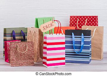 achats, papier, bags., multicolore