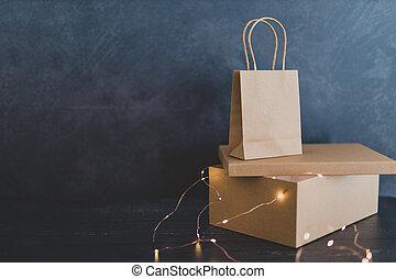 achats, paquet, livraison, sac, tabletop, paiement, carte
