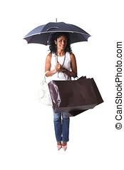 achats, pluie