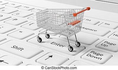 achats, portables, clavier, charrette, blanc