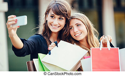 """achats, prendre, deux, jeune, """"selfie"""", centre commercial, femmes"""