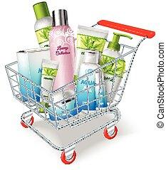 achats, produits de beauté, charrette