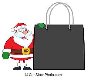 achats, projection, claus, caractère, sac, santa, dessin animé