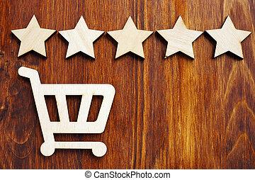 achats, review., charrette, stars., 5, vente au détail, évaluation, achat