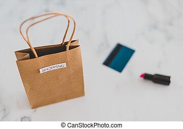 achats, rouge lèvres, sommet, marbre, sac, table, paiement, carte