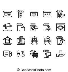 achats, set., illustration, icône, vecteur, ligne