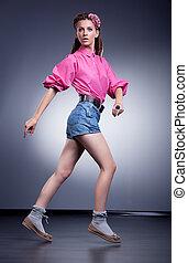 achats, short, jeans treillis, femme, woman., heureux